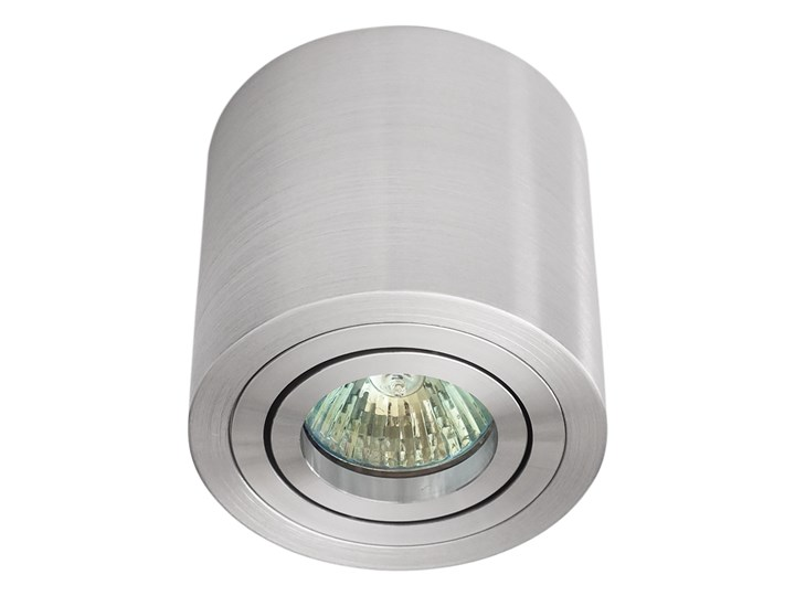 Sufitowa oprawa natynkowa, okrągła, tuba, aluminium szczotkowane aluminiowa Oprawa stropowa Okrągłe Oprawa halogenowa Kategoria Oprawy oświetleniowe