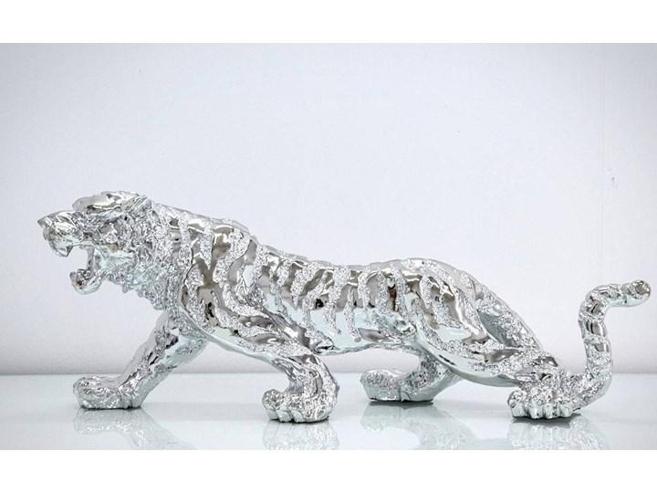 Srebrna figurka Tygrys 77x22x28cm Żywica Zwierzęta Kolor Srebrny Kategoria Figury i rzeźby