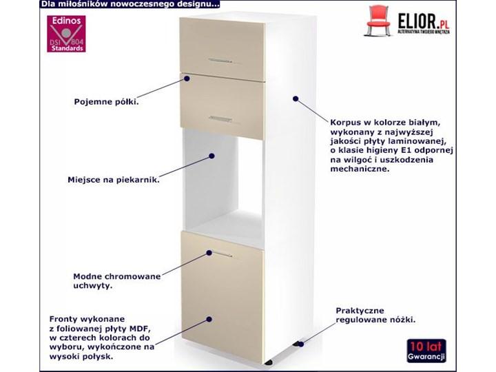Kuchenna szafka do zabudowy piekarnika Limo 15X - jasny beż połysk Płyta MDF Kolor Beżowy