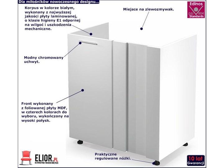 Kuchenna narożna szafka zlewozmywakowa Limo 16X - biały połysk Płyta MDF Szafka narożna Kategoria Szafki kuchenne