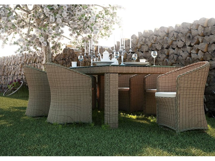 Meble ogrodowe RAPALLO 220cm royal piaskowe Drewno Technorattan Zawartość zestawu Stół Rattan Stal Aluminium Tworzywo sztuczne Kolor Beżowy