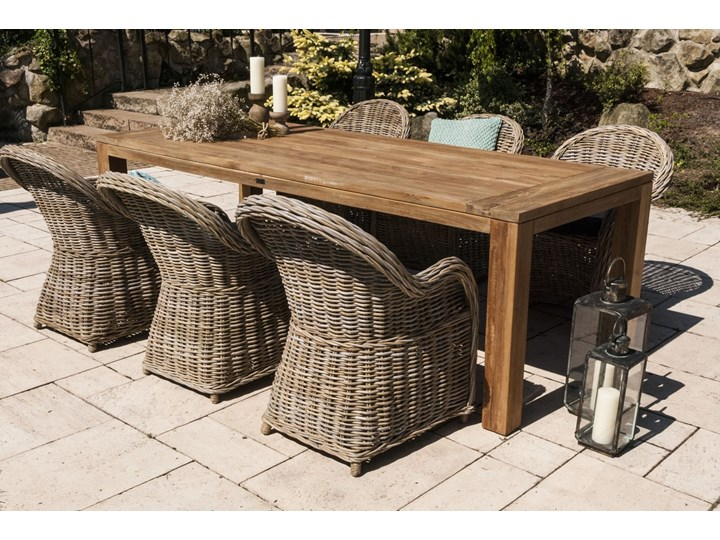 Meble ogrodowe NIMES IV Rattan Drewno Aluminium Stoły z krzesłami Zawartość zestawu Stół Technorattan Styl Minimalistyczny