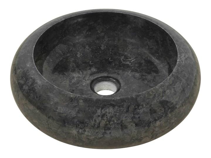 vidaXL Umywalka, 40 x 12 cm, marmurowa, czarna Kamień naturalny Okrągłe Szerokość 40 cm Kolor Czarny