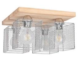 Loftowa LAMPA sufitowa NORMAN WOOD 8175474 Spotlight industrialna OPRAWA druciane klatki metalowe plafon dąb olejowany chrom