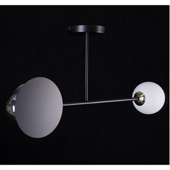 MINERVA 2 BLACK 612/2 oryginalna lampa sufitowa czarna biały klosz złote elementy