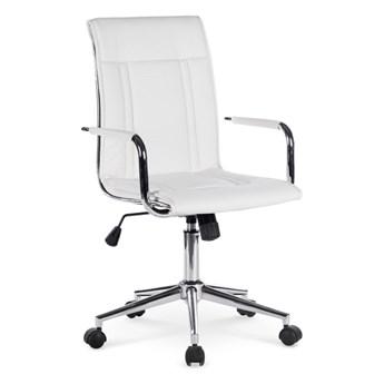 Fotel Porto 2 kolor biały kółka do dywanów
