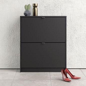 Czarna szafka na buty Roma 2D głęboka