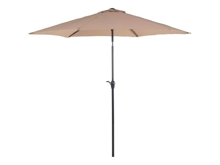 Parasol ogrodowy brązowoszary składany 270 x 230 cm odchylany z korbą Kolor Brązowy Parasole Kategoria Parasole ogrodowe