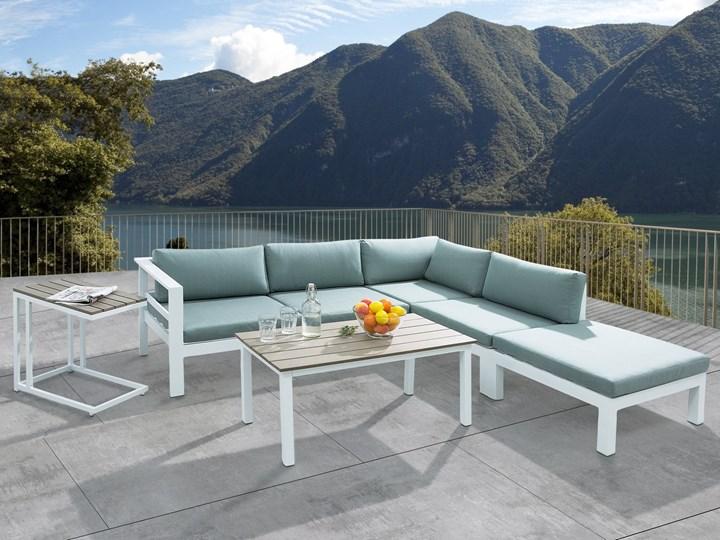 Zestaw mebli ogrodowych 6-osobowy biały aluminium zielone poduszki narożnik pufa stół stolik Zestawy modułowe Zestawy wypoczynkowe Tworzywo sztuczne Zawartość zestawu Sofa