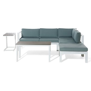 Zestaw mebli ogrodowych 6-osobowy biały aluminium zielone poduszki narożnik pufa stół stolik