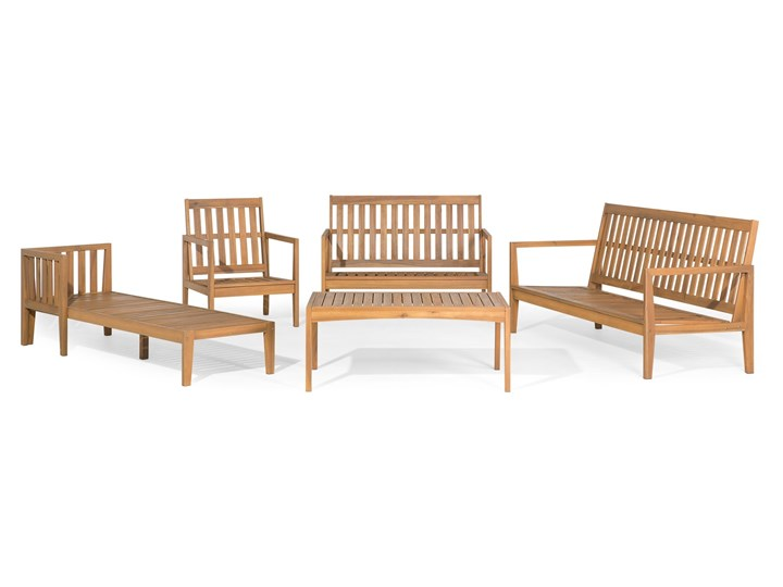 Zestaw ogrodowy brązowy jasne drewno akacjowe 2 ławki 1 fotel 1 leżak 1 stół poduchy retro Zestawy kawowe Zestawy wypoczynkowe Tworzywo sztuczne Kategoria Zestawy mebli ogrodowych