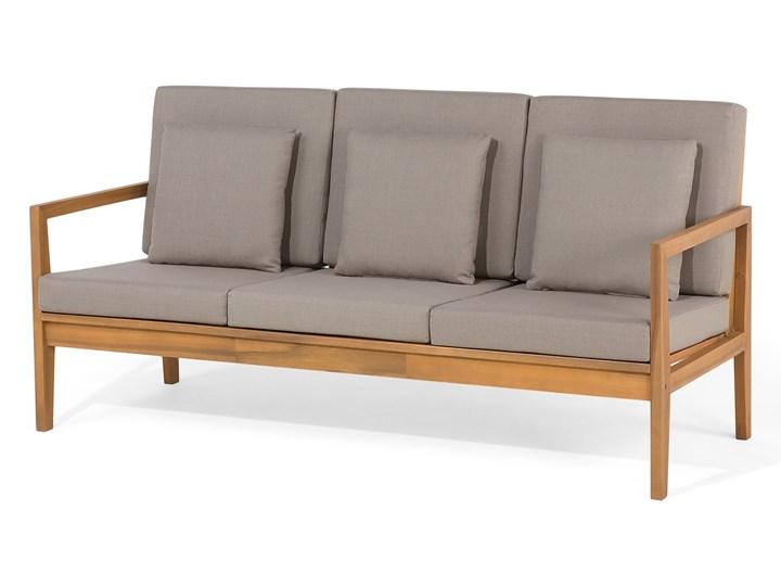 Zestaw ogrodowy brązowy jasne drewno akacjowe 2 ławki 1 fotel 1 leżak 1 stół poduchy retro Zestawy wypoczynkowe Tworzywo sztuczne Zestawy kawowe Styl Vintage Zawartość zestawu Stolik