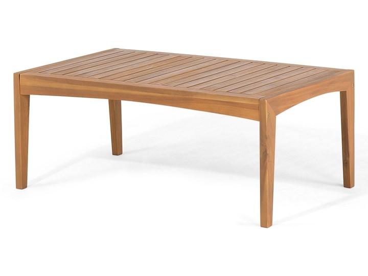 Zestaw ogrodowy brązowy jasne drewno akacjowe 2 ławki 1 fotel 1 leżak 1 stół poduchy retro Tworzywo sztuczne Zestawy wypoczynkowe Zestawy kawowe Styl Vintage Kategoria Zestawy mebli ogrodowych