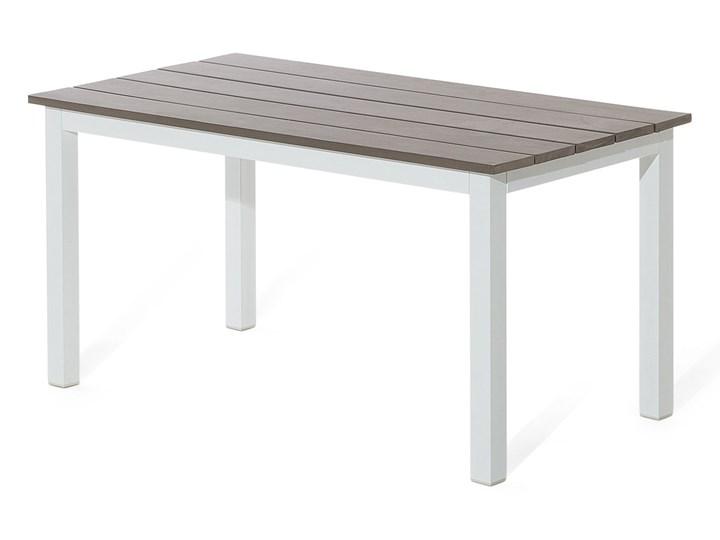Zestaw mebli ogrodowych 6-osobowy biały aluminium zielone poduszki narożnik pufa stół stolik Tworzywo sztuczne Zestawy modułowe Kolor Zielony Zestawy wypoczynkowe Styl Nowoczesny