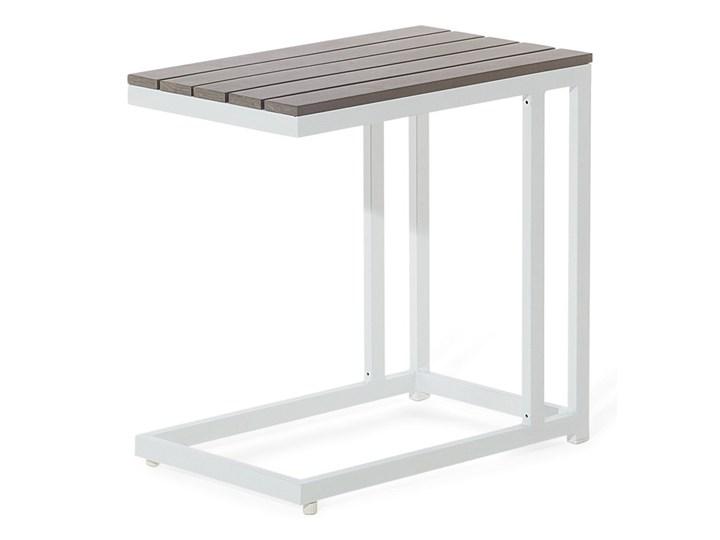 Zestaw mebli ogrodowych 6-osobowy biały aluminium zielone poduszki narożnik pufa stół stolik Zestawy wypoczynkowe Tworzywo sztuczne Zestawy modułowe Zawartość zestawu Sofa