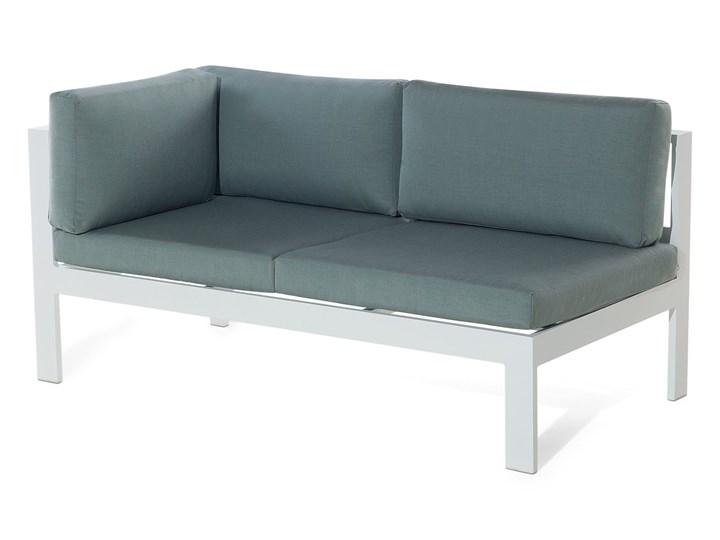 Zestaw mebli ogrodowych 6-osobowy biały aluminium zielone poduszki narożnik pufa stół stolik Zawartość zestawu Sofa Tworzywo sztuczne Zestawy modułowe Zestawy wypoczynkowe Styl Nowoczesny