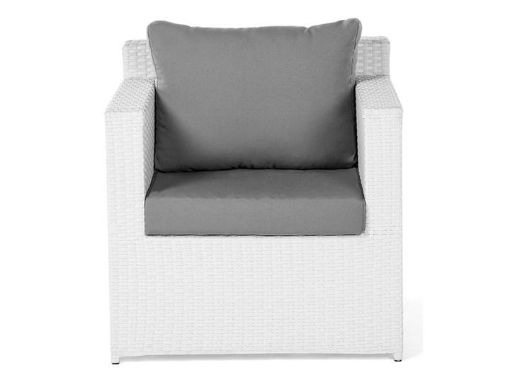 Zestaw mebli ogrodowych 5-osobowy biały rattan szare poduszki sofa 2 fotele pufa stolik Technorattan Aluminium Zestawy wypoczynkowe Tworzywo sztuczne Kategoria Zestawy mebli ogrodowych Styl Nowoczesny