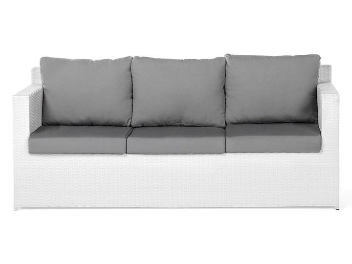 Zestaw mebli ogrodowych 5-osobowy biały rattan szare poduszki sofa 2 fotele pufa stolik Technorattan Tworzywo sztuczne Aluminium Zestawy wypoczynkowe Styl Nowoczesny Kategoria Zestawy mebli ogrodowych