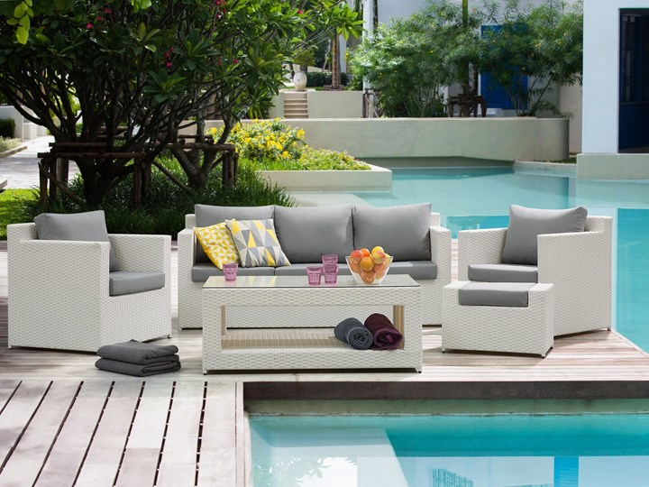 Zestaw mebli ogrodowych 5-osobowy biały rattan szare poduszki sofa 2 fotele pufa stolik Styl Nowoczesny Technorattan Zestawy wypoczynkowe Aluminium Tworzywo sztuczne Kategoria Zestawy mebli ogrodowych