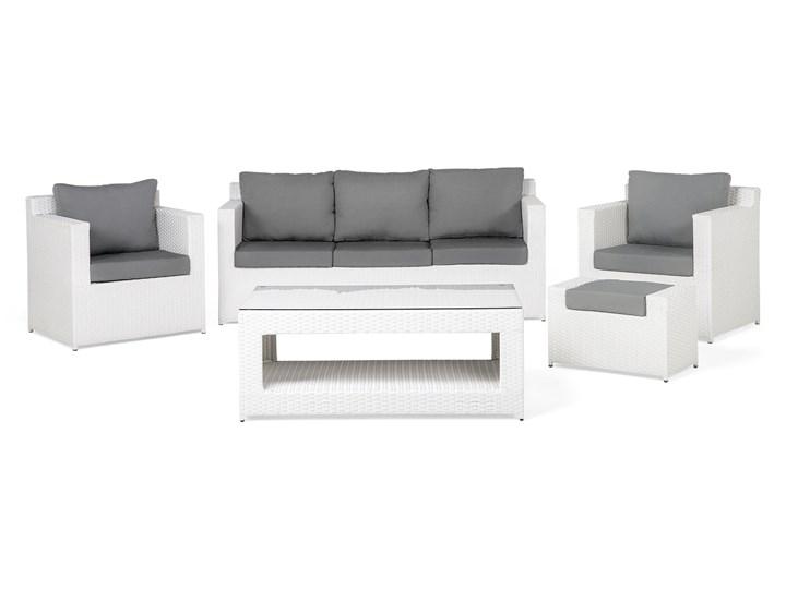 Zestaw mebli ogrodowych 5-osobowy biały rattan szare poduszki sofa 2 fotele pufa stolik Aluminium Kategoria Zestawy mebli ogrodowych Technorattan Zestawy wypoczynkowe Tworzywo sztuczne Styl Nowoczesny