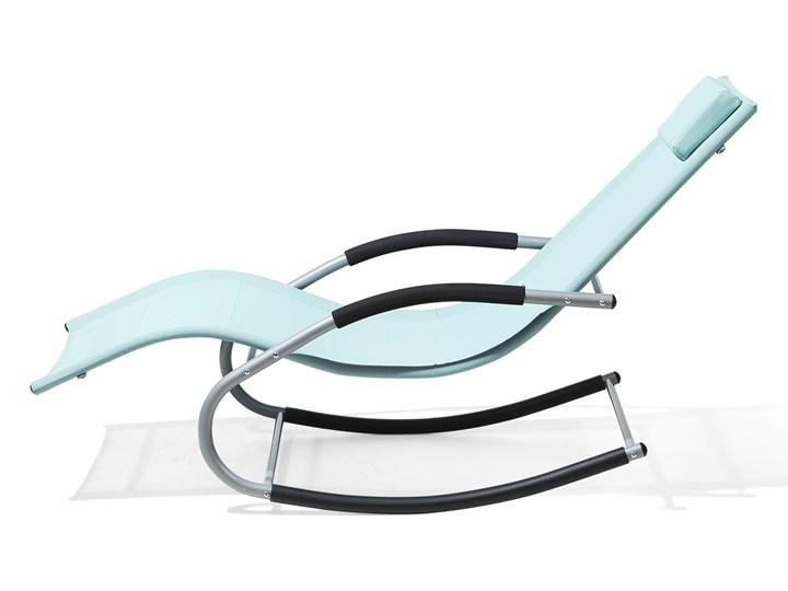 Leżak ogrodowy jasnoniebieski bujany ogrodowy na płozach z poduszką zagłówkiem Metal Styl Nowoczesny Kategoria Krzesła ogrodowe