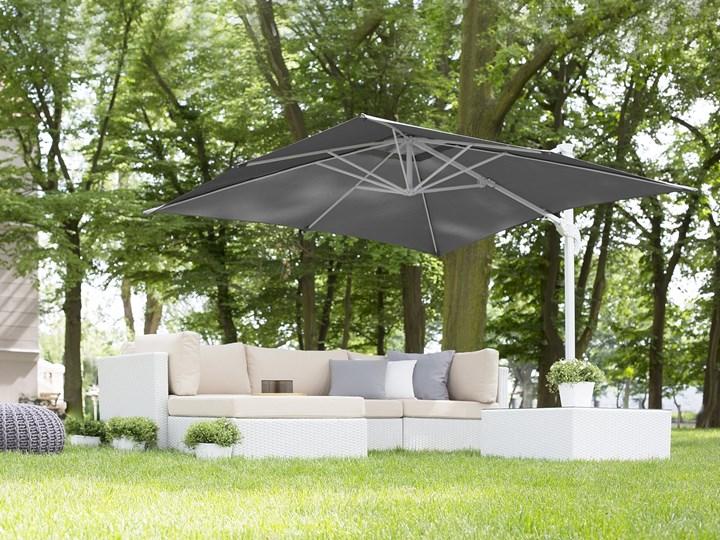 Parasol ogrodowy szary na wysięgniku 250 x 250 cm podwieszany biała aluminiowa rama Kolor Biały Kategoria Parasole ogrodowe