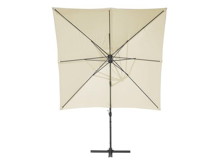 Parasol ogrodowy jasnobeżowy na wysięgniku 250 x 250 cm podwieszany ciemnoszara aluminiowa rama Kategoria Parasole ogrodowe Kolor Szary