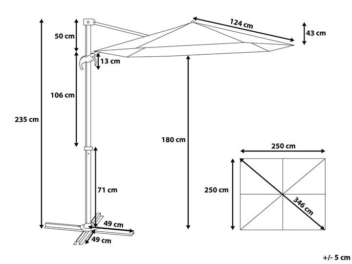 Parasol ogrodowy szary na wysięgniku 250 x 250 cm podwieszany biała aluminiowa rama Kategoria Parasole ogrodowe