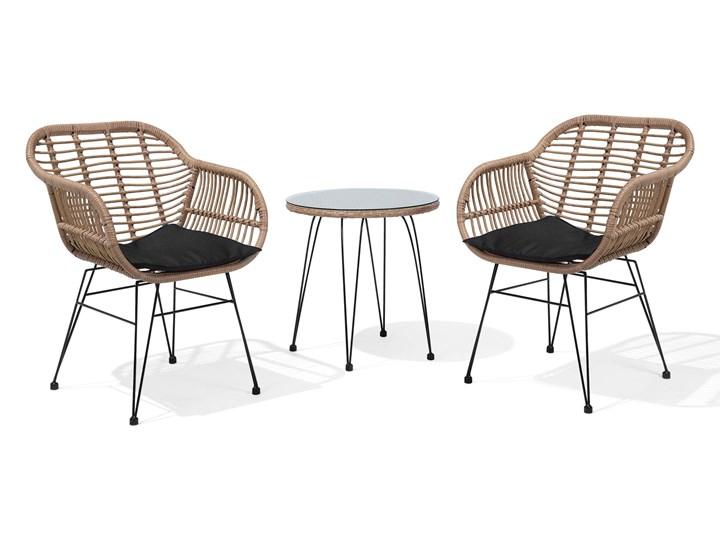 Zestaw balkonowy brązowy rattanowy 2 krzesła 1 stół ze szklanym blatem nowoczesny Technorattan Stal Stoły z krzesłami Kategoria Zestawy mebli ogrodowych