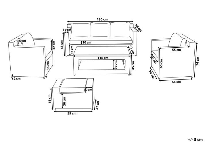 Zestaw mebli ogrodowych 5-osobowy biały rattan szare poduszki sofa 2 fotele pufa stolik Kategoria Zestawy mebli ogrodowych Technorattan Aluminium Tworzywo sztuczne Zestawy wypoczynkowe Styl Nowoczesny