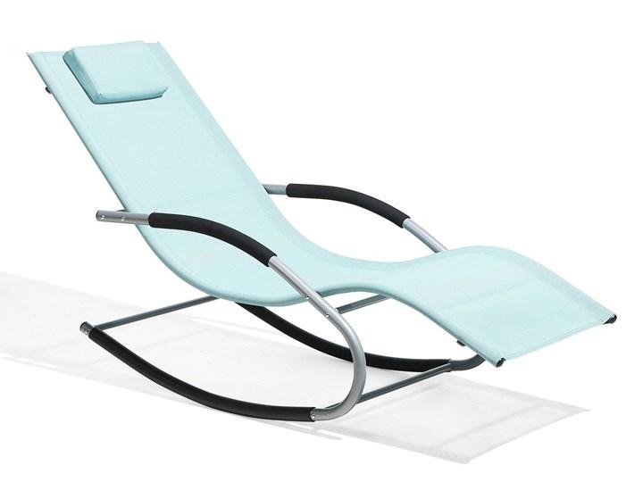 Leżak ogrodowy jasnoniebieski bujany ogrodowy na płozach z poduszką zagłówkiem Styl Nowoczesny Metal Kategoria Krzesła ogrodowe