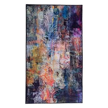 Dywan wielokolorowy 80 x 150 cm abstrakcyjny wzór akwarelowy nowoczesny salon sypialnia duży pokój