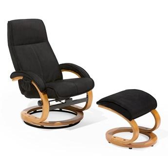 Fotel wypoczynkowy z masażem i podnóżkiem czarny tapicerowany materiałem drewniana rama odchylane oparcie