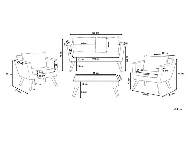 Zestaw mebli ogrodowych 4-osobowy wypoczynkowy szaro-brązowy technorattan sofa dwa fotele poduszki stolik kawowy Zestawy kawowe Zestawy wypoczynkowe Tworzywo sztuczne Stal Styl Nowoczesny Kategoria Zestawy mebli ogrodowych