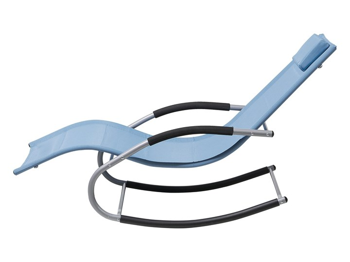 Leżak ogrodowy niebieski bujany ogrodowy na płozach z poduszką zagłówkiem Leżanki Bujane Metal Kategoria Leżaki ogrodowe
