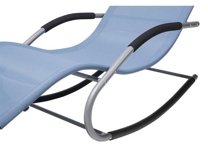 Leżak ogrodowy niebieski bujany ogrodowy na płozach z poduszką zagłówkiem Metal Bujane Kategoria Leżaki ogrodowe Leżanki Styl Nowoczesny