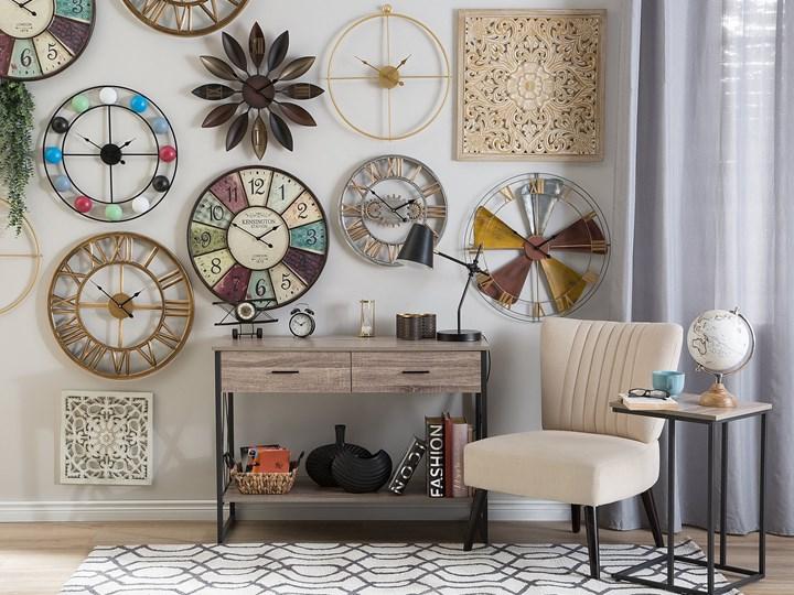 Zegar ścienny srebrno-złoty żelazny rzymskie cyfry Ø 46 cm industrialny design Metal Okrągły Pomieszczenie Sypialnia