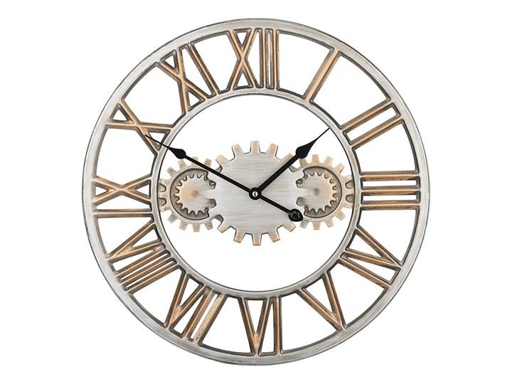 Zegar ścienny srebrno-złoty żelazny rzymskie cyfry Ø 46 cm industrialny design Metal Okrągły Kolor Srebrny