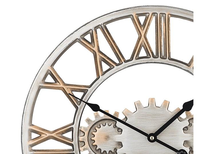 Zegar ścienny srebrno-złoty żelazny rzymskie cyfry Ø 46 cm industrialny design Okrągły Metal Pomieszczenie Sypialnia