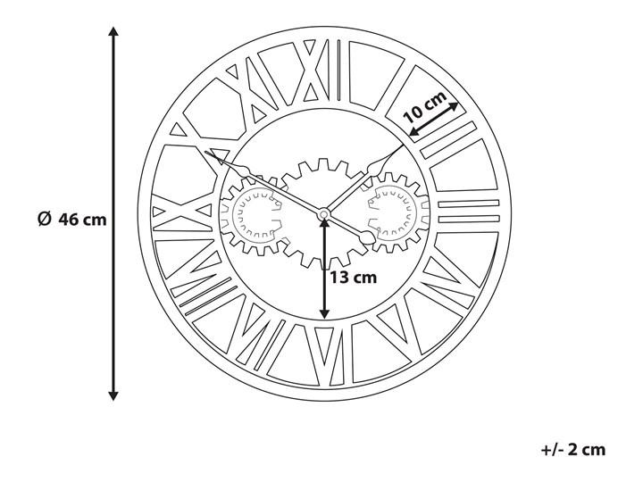Zegar ścienny srebrno-złoty żelazny rzymskie cyfry Ø 46 cm industrialny design Metal Pomieszczenie Salon Okrągły Pomieszczenie Sypialnia