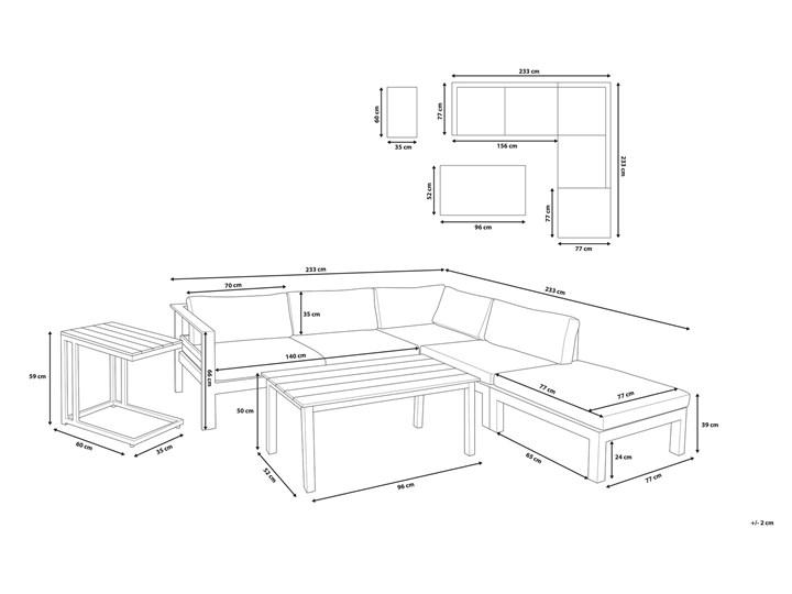 Zestaw mebli ogrodowych 6-osobowy biały aluminium zielone poduszki narożnik pufa stół stolik Tworzywo sztuczne Kategoria Zestawy mebli ogrodowych Zestawy modułowe Zestawy wypoczynkowe Kolor Zielony