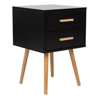 Stolik nocny czarny drewniane nogi szafka z 2 szufladami 40 x 40 cm styl skandynawski
