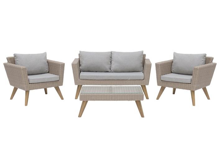 Zestaw mebli ogrodowych 4-osobowy wypoczynkowy szaro-brązowy technorattan sofa dwa fotele poduszki stolik kawowy Zestawy wypoczynkowe Stal Zestawy kawowe Tworzywo sztuczne Kategoria Zestawy mebli ogrodowych