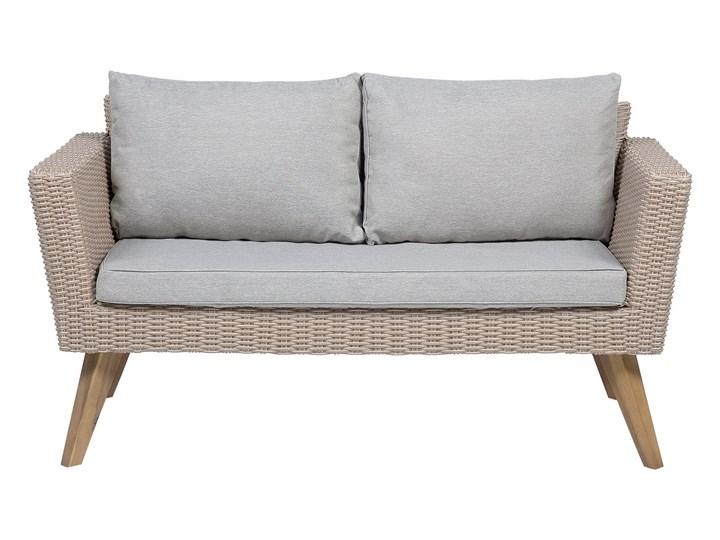 Zestaw mebli ogrodowych 4-osobowy wypoczynkowy szaro-brązowy technorattan sofa dwa fotele poduszki stolik kawowy Zestawy kawowe Stal Styl Nowoczesny Tworzywo sztuczne Zestawy wypoczynkowe Kategoria Zestawy mebli ogrodowych