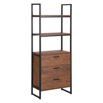 Regał z półkami i szufladami ciemne drewno czarna rama 158 x 61 cm retro