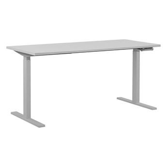 Regulowane biurko białe drewniany blat stalowa rama ręczna zmiana wysokości 130 x 72 cm nowoczesny design