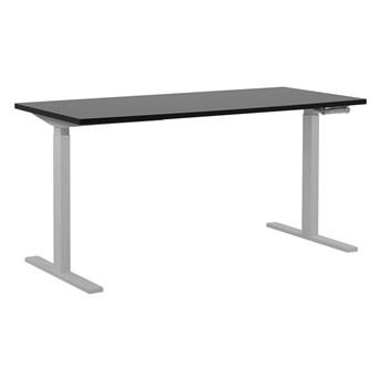 Regulowane biurko czarny drewniany blat stalowa biała rama ręczna zmiana wysokości 130 x 72 cm nowoczesny design