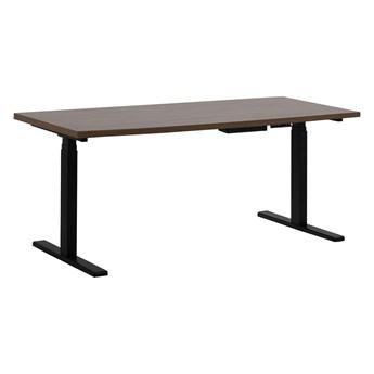 Regulowane biurko ciemny drewniany blat stalowa czarna rama elektryczna zmiana wysokości 160 x 72 cm nowoczesny design