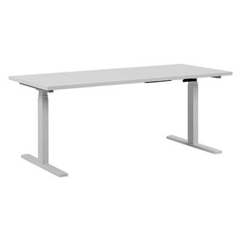 Regulowane biurko biały drewniany blat stalowa rama elektryczna zmiana wysokości 160 x 72 cm nowoczesny design