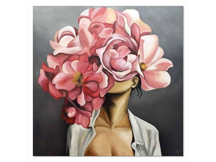 KWITNĄCA KOBIETA - KOBIETA Z KWIATEM NA GŁOWIE obraz ręcznie malowany, 90x90 cm
